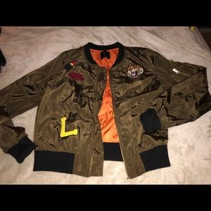 Love Tree Army Green Bomber Jacket